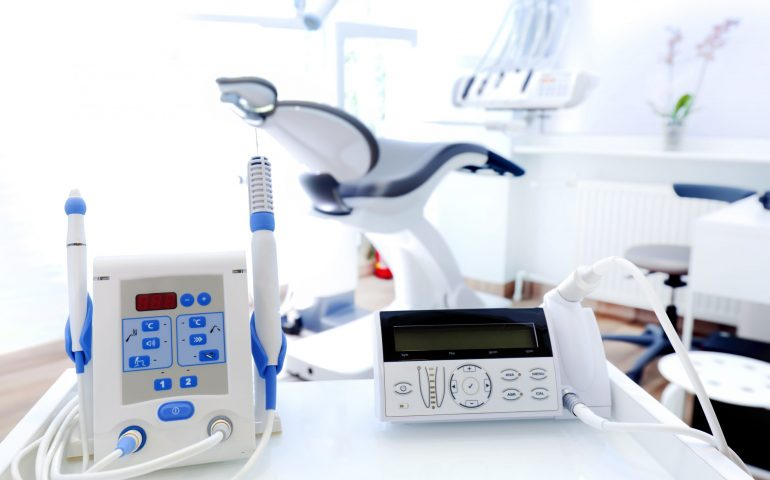 Equipment and dental instruments in dentist's office. Dentistry